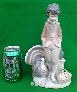10 Lladro Boy With Turkey & Basket Of Eggs 1276 Rare