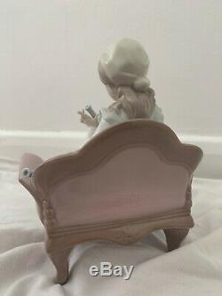 Beautiful Genuine Lladro #6183 Girl Polishing Candle Sticks Figurine