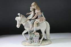 Beautiful Rare Lladro Porcelain Pony Ride Boy & Girl Riding Horse #1251 AB4