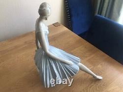 Exquisite Large Rare Retired Lladro Seated Ballerina