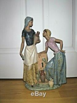 Huge Lladro Nao Bisque Figurine Girls At A Well Excellent MEGA RARE