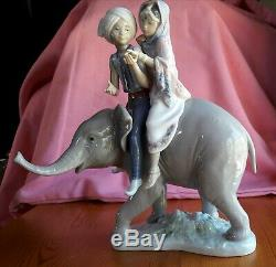 LLADRO FIGURINE' HINDU CHILDREN AND ELEPHANT' signed and dated