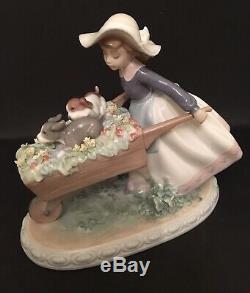 LLadro A Barrow Of Fun. 5460. Girl pushing puppies In wheelbarrow