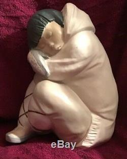Large Gres Lladro Eskimo Boy Sitting Sleeping 26cm High Excellent Condition