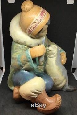 Large Lladro Figurine #2361 Gres Cold Companions Eskimo Boy Feeding A Seal