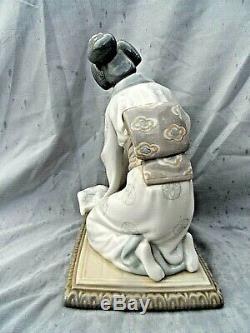 Large Lladro Figurine #4840 Japonesa Decorando Geisha Flower Arranger Perfect