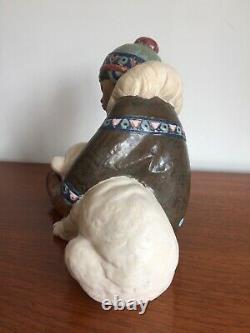 Large Lladro Gres Seated Eskimo Boy & Polar Bear 12097 Excellent With Box