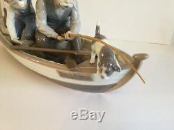 Large Lladro Hand Painted Figurine Fishing With Gramps 5215