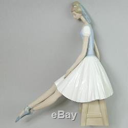 Large Lladro Nao Porcelain Ballerina Resting Figurine