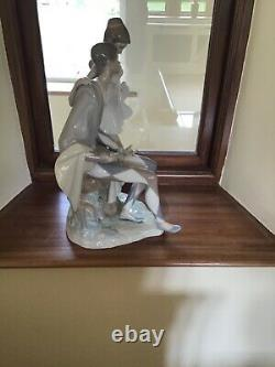 Large Lladro ballerina and jester centrepiece