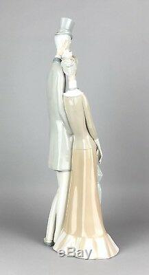 Large Lladro -edwardian Couple- Figure 130 Old Man Top Hat Lady Parasol -boxed