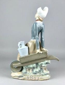 Large Lladro -milkmaid On Wheelbarrow- Figure Model 4979 Dutch Girl Lady Woman