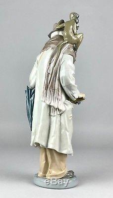 Large Lladro -organ Grinder- Figure 5046 Hurdy Gurdy Player Man Hat Coat Monkey
