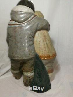 Large retired Eskimo Arctic Boy & Girl Figurine by Lladro 15 tall Juan Huerta