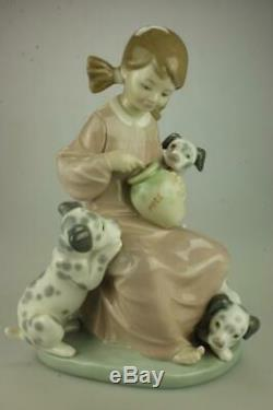 Lladro #1248 Honey Lickers Girl with Dalmation Dogs Retired 1989