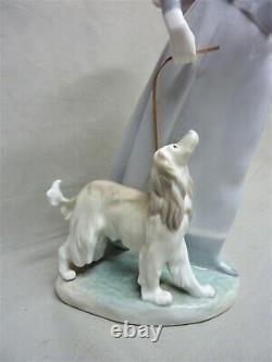Lladro #4914 Lady With Shawl- Lady Walking Dog With Parasol SUPER RARE