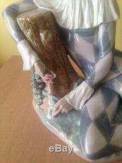 Lladro 5128 Harlequin With Rose Very Large Salvador Furio 1982 Mint 10.75