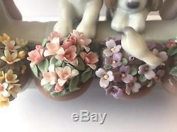 Lladro 6502 PLEASE COME HOME Dogs In Window Gloss Figurine