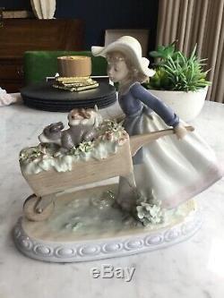 Lladro A Barrow Of Fun #5460 Girl Pushing Cart With Puppies