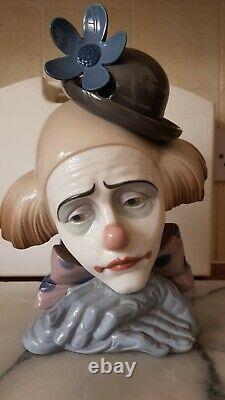 Lladro Clown Head Pensive Clown Dated 1981 H26CM X W19CM