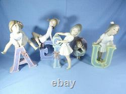 Lladro Complete Set School Girl Vowel Figures By Jose Puche Retired 1982-1985