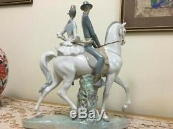 Lladro Estate Manager With Lady Riding Side Saddle On A White Horse
