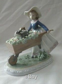 Lladro Figurine #5460 A Barrow of Fun Girl Pushing Wheelbarrow