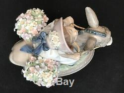 Lladro Figurine 5465 Look at Me! Girl on Donkey With Baskets of Flowers