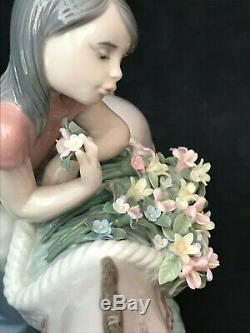 Lladro Figurine 6165 Pretty Cargo Girl standing by Donkey With Baskets of Flow