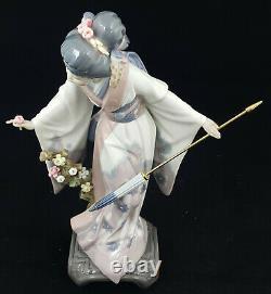 Lladro Figurine Geisha Girl Teruko Model 1451 Boxed Umbrella Re-guled