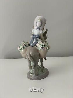 Lladro Figurine Look At Me Ref 5465, Girl Riding Donkey, Flower Baskets