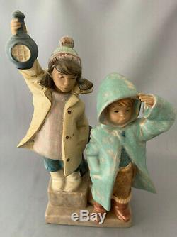 Lladro Gres Ahoy There Figurine. Number 2173. Boy & Girl with Lantern