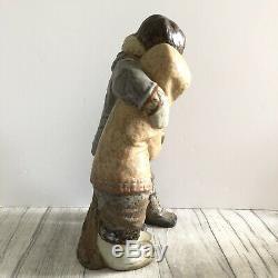 Lladro Inuit Eskimo Couple Figurine Large 33cm Tall Vintage Gres 1971-1974 Spain