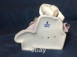 Lladro Large Retired lost In Dreams 6313 Lady Sitting On Pedestal Boxed