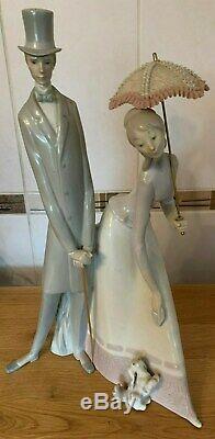 Lladro Model No 4563 Large Edwardian Couple Lady Parasol with Dog Figurine