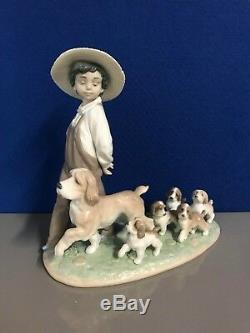 Lladro My Little Explorers. 6828. Boy with puppies. Privilege. Mint In Box