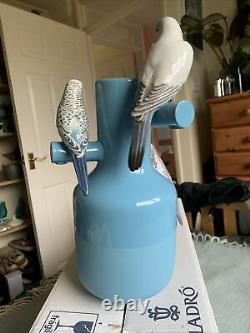 Lladro Parrot Parade Blue New Boxed 01007850 Vase Budgie Parakeets Bird