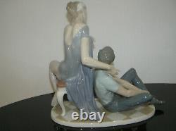 Lladro Porcelain #4992 Ballet Dancers Resting Man Woman On Chair Large Piece