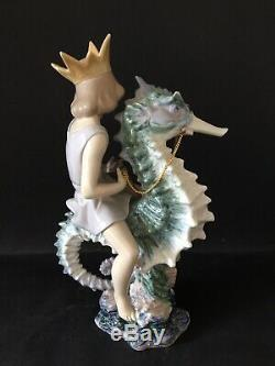 Lladro Prince of The Sea. 1821. Prince on Seahorse. Limited Ed. Signed. 12.5'