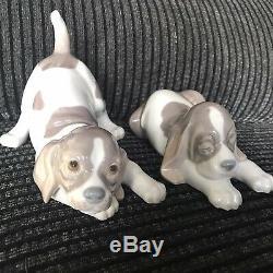 Lladro Sleepy Puppy & Playful Puppy Beagle