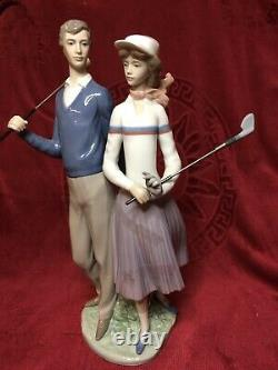 Lladro The Golfing Couple 1453 Mint Condition Original Box And Certificate