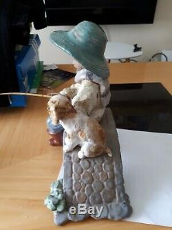 Lladro The Old Fishing Hole Gres Figurine 2237 Boy Fishing With Dog Retired