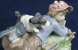 Lladro boy with dog 5451 STUDY BUDDIES produced 1988-2007