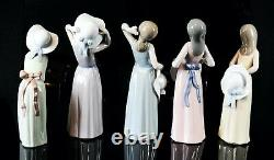 Lladro -girls With Straw Hats- Set Of 5 Figure Models 5006 5007 5008 5009 5011