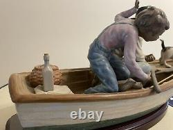 Lladro porcelain FISHING WITH GRAMPS. Issue Year 1984 Sculptor Jose Puche