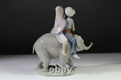 Lovely Rare Lladro Hindu Children on Elephant 5352 Porcelain Figurine