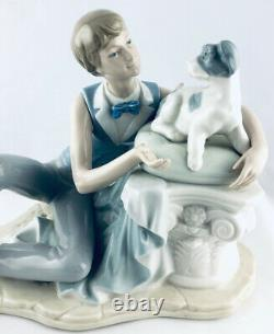 NAO By Lladro Early 1977 Large Sitting Boy & Dog Perfect
