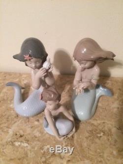 Nao Lladro Lot Of 3 Delicate Mermaid Beauties Figure Handmade In Spain GUC
