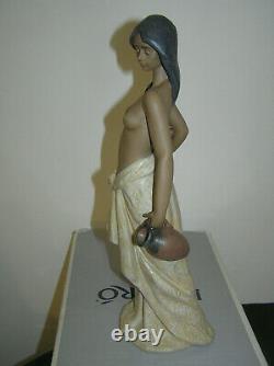 Rare Beautiful Lladro Porcelain 2323 Water Girl Lady Semi Naked Nude Figurine Bx