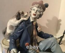 Rare Large Lladro Figurine #5763 Musical Partners Sitting Clown With Dog, Flute